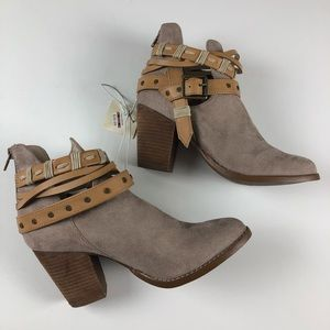 NWT Alter'd State buckle wrap booties taupe 8